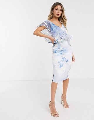 Lipsy organza ruffle one shoulder pencil dress in blue floral print