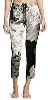 Josie Natori Yuzen Floral-Print Silk Lounge Pants, Multi Pattern