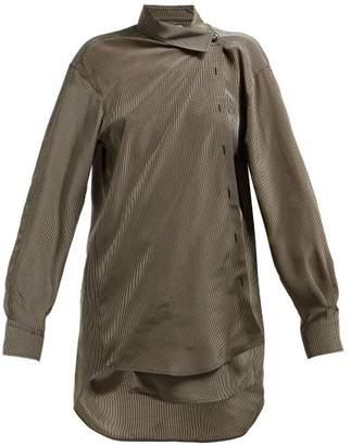 Balenciaga Checked Draped Collar Shirt - Womens - Brown Multi