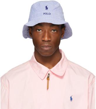Polo Ralph Lauren Blue and White Striped Seersucker Bucket Hat