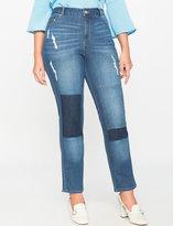 ELOQUII Plus Size Patchwork Jean