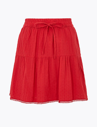 Marks and Spencer Pure Cotton Tiered Mini A-Line Skirt