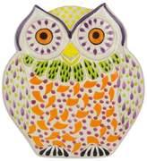 Handcrafted Orange Owl Theme Majolica Ceramic Dish, 'Curious Orange Owl'