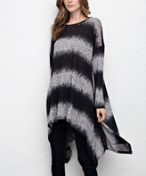 Jane Black & Heather Gray Tie-Dye Sidetail Tunic