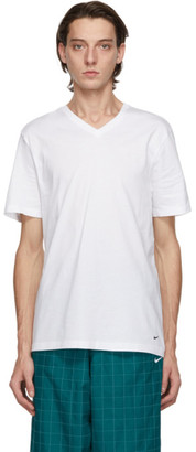 Nike Two-Pack White Cotton Everyday V-Neck T-Shirts