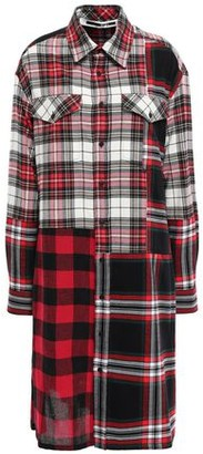 McQ Patchwork-effect Checked Cotton And Wool-blend Shirt Dress