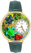 Whimsical Watches Personalized Turtle Womens Gold-Tone Bezel Green Leather Strap Watch