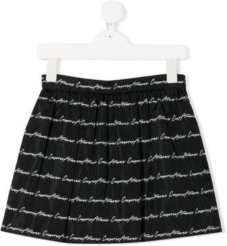 Emporio Armani Kids Signature Logo Print Skirt