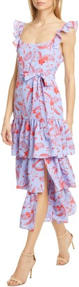 LIKELY Juno Floral Tiered Ruffle Midi Dress