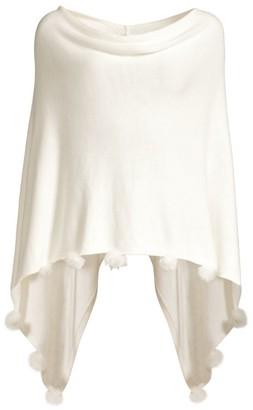 Lilly Pulitzer Oaklee Faux Fur Pom-Pom Cashmere-Blend Handkerchief Poncho