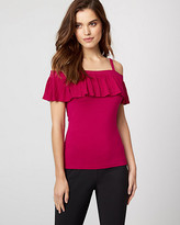 Le Château Jersey Knit Cold Shoulder Ruffle Top
