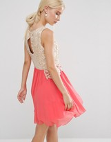 Little Mistress Lace Skater Dress With Keyhole Back