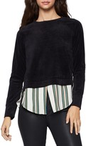 BCBGeneration Velour Sweater Striped Hem Twofer Top