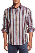 Robert Graham Ornaments Stripe Jacquard Sport Shirt
