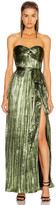 Jonathan Simkhai Metal Plisse Strapless Gown in Lime | FWRD