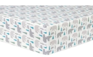 Trend Lab Bears & Trees Flannel Crib Sheet Bedding