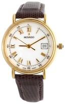 Movado Elegant White Dial Brown Leather Bracelet Quartz Womens Watch