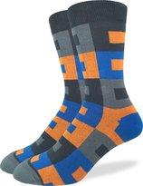 Good Luck Sock Men's Blue & Rectangles Crew Socks