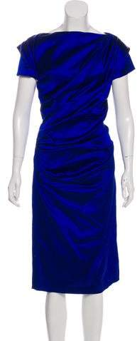 Talbot Runhof Satin Ruched Dress