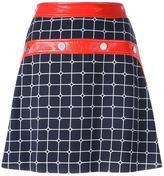 Courreges plaid A-line skirt - women - Cotton/Polyurethane/Cupro/Viscose - 34