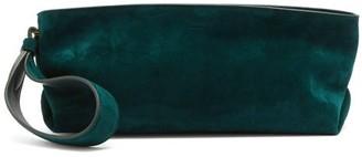 KHAITE Alma Suede Pouch - Dark Green