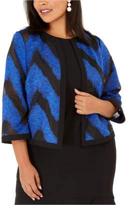 Kasper Plus Size Organza Mixed-Texture Flyaway Jacket