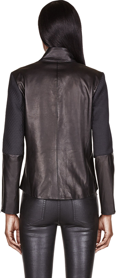Helmut Lang Black Leather-Trimmed & Embossed Crash Jacket