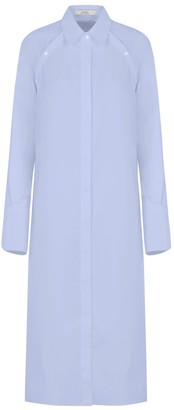 A Line Clothing Blue Sleeve(Less) Shirt Dress