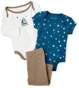 Nautica Newborn/Infant Boys) 3-Piece Stars & Sailboat Bodysuit & Pants Set