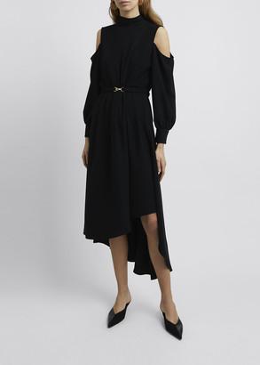 Rokh High-Neck Cold-Shoulder Asymmetric Midi Dress