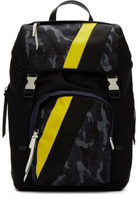 Prada Black Camo Technical Fabric Backpack
