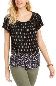 Style&Co. Style & Co Petite Pleated Printed Top, Created for Macy's