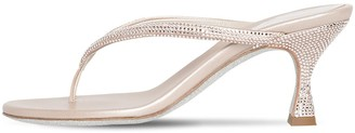 Rene Caovilla 65mm Embellished Satin Thong Sandals