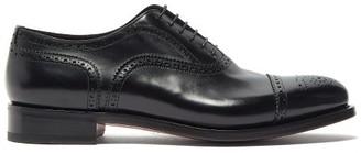 Santoni Oscar Leather Oxford Shoes - Mens - Black