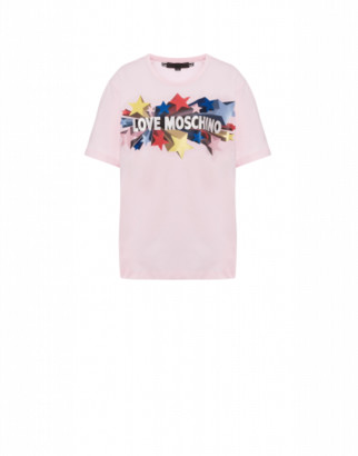 Love Moschino Glitter Stars Jersey T-shirt Woman Pink Size 38 It - (4 Us)