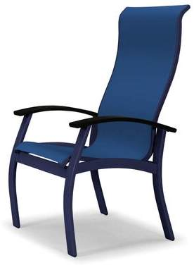 Telescope Casual Belle Isle Sling Supreme Patio Dining Chair Telescope Casual Frame Color: Snow, Seat Color: Baja