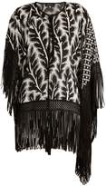 Andrew Gn Floral-print fringed hem asymmetric silk-blend top