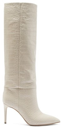 Paris Texas Crocodile-effect Leather Knee-high Boots - Cream