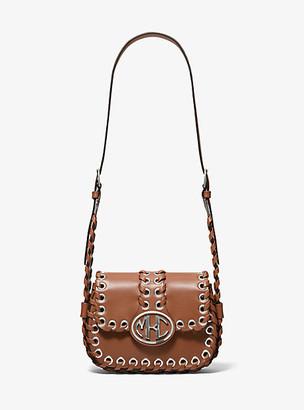 Michael Kors Monogramme Whipstitch Leather Shoulder Bag