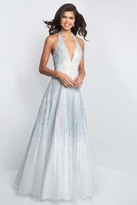 Blush Lingerie C1074 Glittering Plunging V-Neck Beaded A-Line Dress