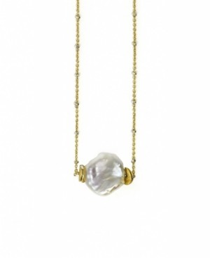 Roberta Sher Designs 14k Gold Filled Delicate Diamond Cut Chain with a Single Natural Keshi Pearl