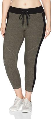 Calvin Klein Women's Plus Size Colorblocked Drawstring Waistband 7/8 Legging