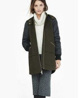 Express mixed fabric hooded long varsity jacket