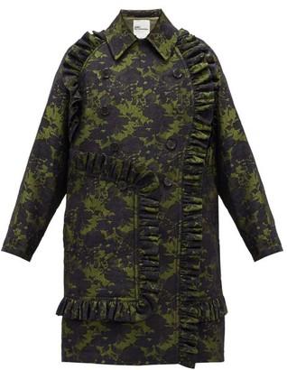 Noir Kei Ninomiya Double-breasted Ruffled Floral-jacquard Coat - Green