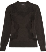 Dolce & Gabbana Lace-paneled Cashmere-blend Sweater - Charcoal