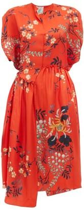 By Walid Aida Floral Print Silk Satin Dress - Womens - Red Multi