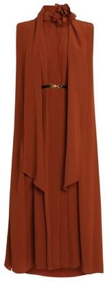 Victoria Beckham Scarf Detail Silk Midi Dress