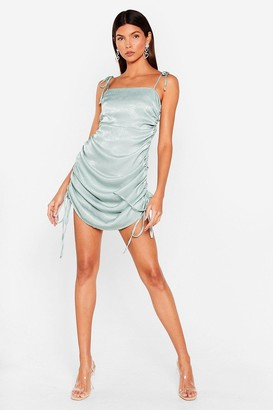 Nasty Gal Womens The Ruche-ure is Ours Satin Mini Dress - Sage
