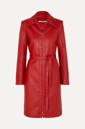Orseund Iris Belted Vegan Leather Jacket - Red