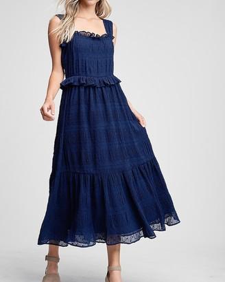 Express En Saison Sleeveless Chiffon Swiss Dot Midi Dress
